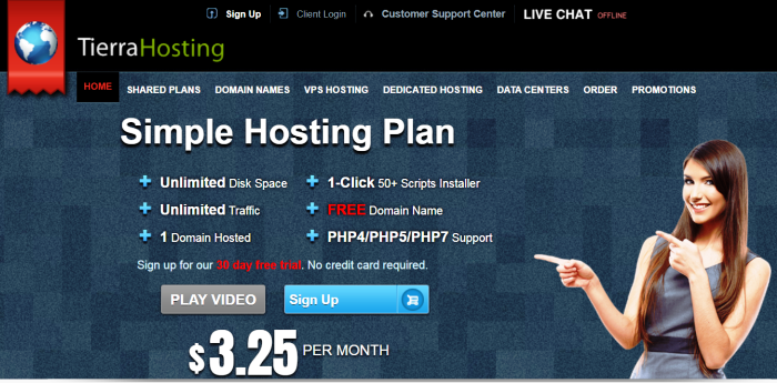 Tierra Hosting offers Unlimited Web Hosting starting at only $3.25 a month - with a FREE domain name!
