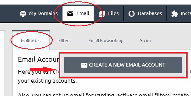 email mailboxes menu