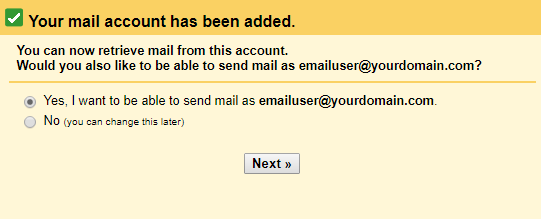 message prompt from incoming email setting