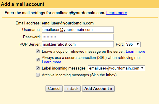 setting up gmail with your domain email for incoming messages